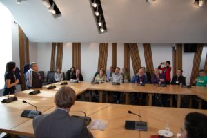 Kuyukov speaking during events at Scottish Parliament